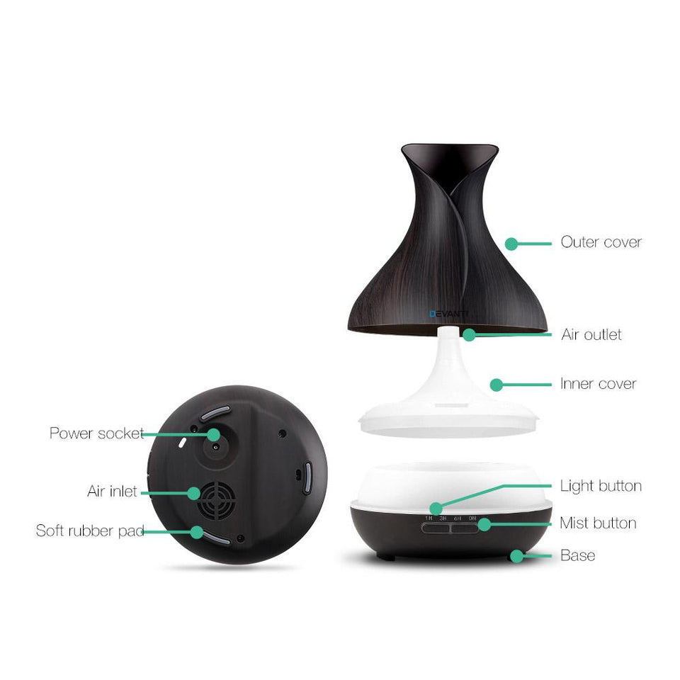 400ml 4 in 1 Aroma Diffuser - Dark Wood - Factory To Home - Appliances