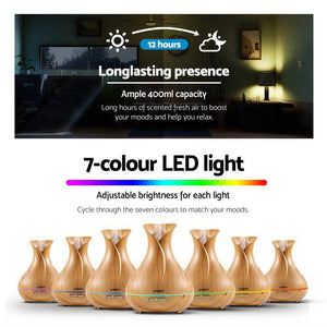 400ml 4 in 1 Aroma Diffuser - Light Wood - Factory To Home - Appliances