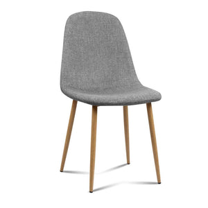 4x Adamas Fabric Dining Chairs - Light Grey - Factory To Home - Furniture