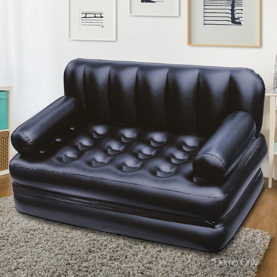 5 in 1 Inflatable Sofa Bed- Black - Factory To Home - Home & Garden