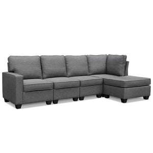 5 Seater Modular Chaise Couch - Fabric Grey - Factory To Home - Furniture