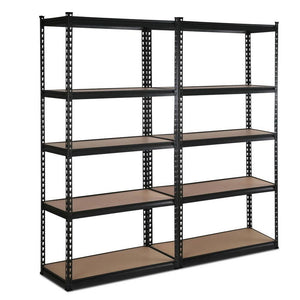 5 Tier Industrial Shelving Unit Set of 2 - Black - Factory To Home - Home & Garden