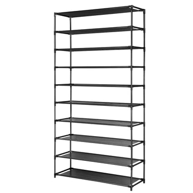 50 Pairs 10 Tier Shoe Rack Black - Factory To Home - Home & Garden