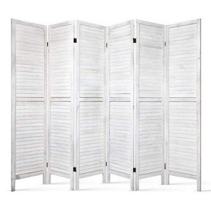 6 Panel Privacy Screen Wood - White - Factory To Home - Furniture