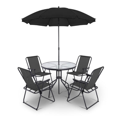 6 Piece Round Outdoor Dining Set - Black - Factory To Home - Furniture