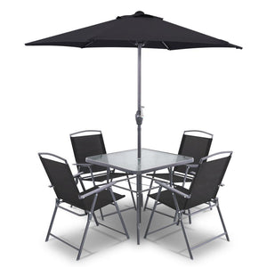 6 Piece Square Outdoor Dining Set - Black - Factory To Home - Furniture