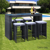 7 Piece Outdoor Dining Table Set - Black - Factory To Home - Furniture