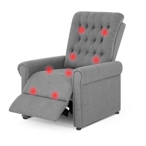 8 Point Electric Massage Recliner Chair - Grey - Factory To Home - Furniture