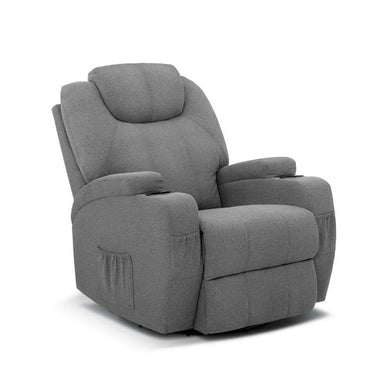 8 Point Heated Electric Massage Recliner - Fabric Grey - Factory To Home - Furniture
