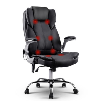 8 Point PU Leather Massage Chair - Black - Factory To Home - Furniture