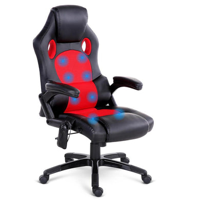8 Point PU Leather Reclining Heated Massage Chair - Red - Factory To Home - Furniture