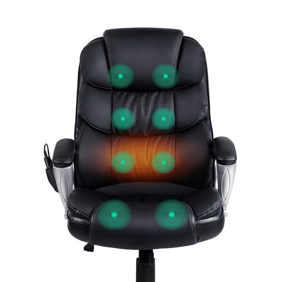 8 Point PU Leather Reclining Massage Chair - Black - Factory To Home - Furniture