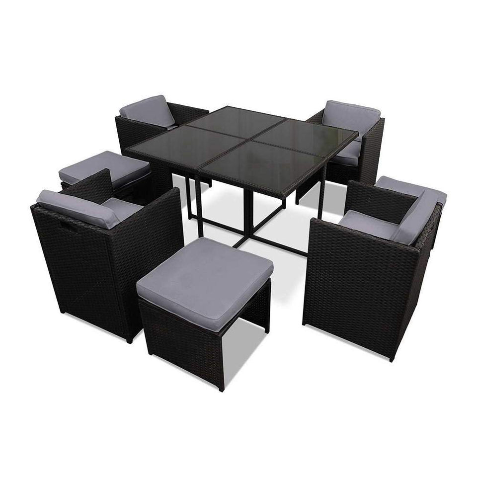 9 Piece Wicker Outdoor Dining Set - Black & Grey - Factory To Home - Furniture