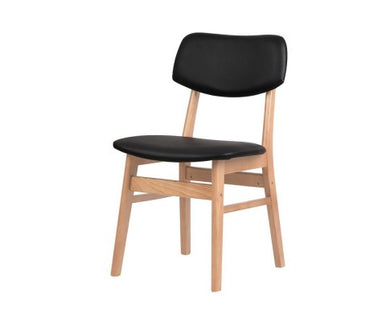 Set of 2 Wood & PVC Dining Chairs - Black