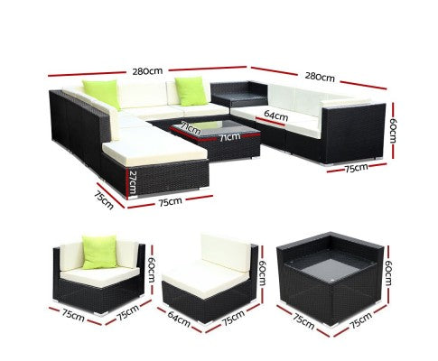 11PC Outdoor Sofa Set with Storage Cover