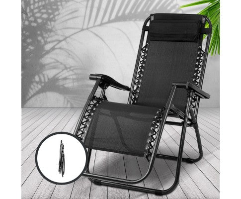 Outdoor Portable Recliner - Black