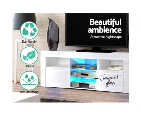 Tempered Glass LED TV & Entertainment Unit - White