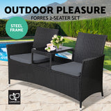 2 Seater Outdoor Chair - Black