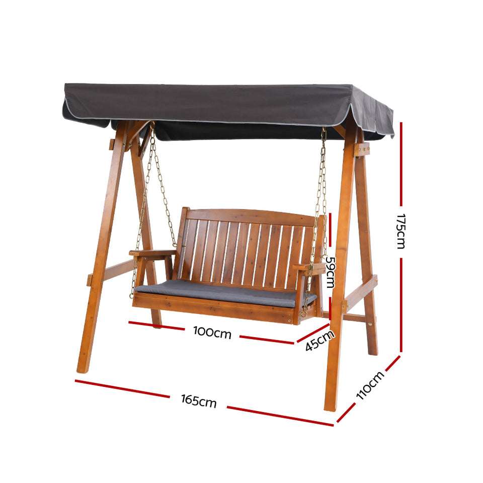 2 Seater Wooden Swing Chair Canopy
