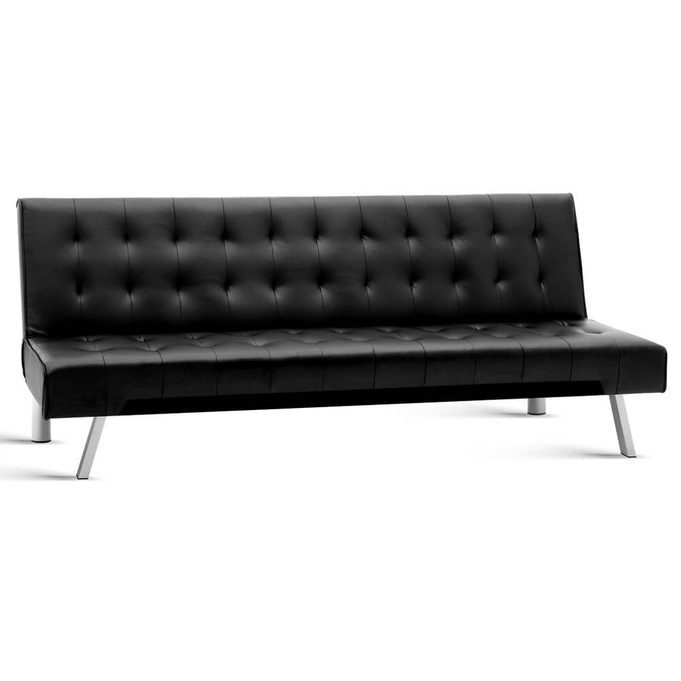 3-Seater Leather Sofa - Black
