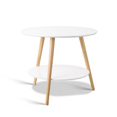 Artiss 2 Tier Side Table - White - Factory To Home - Furniture