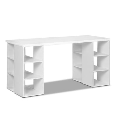 Artiss 3 Level Desk with Storage & Bookshelf - White - Factory To Home - Furniture