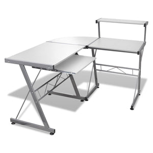 Artiss Corner Metal Pull Out Table Desk - White - Factory To Home - Furniture
