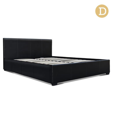 Artiss Double Size PU Leather and Wood Bed Frame - Black - Factory To Home - Furniture