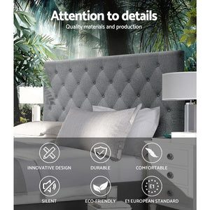 Artiss Double Size Upholstered Fabric Headboard - Dark Grey - Factory To Home - Furniture