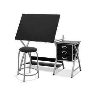 Artiss Drawing Desk With Stool Adjustable Tilt Drafting Table Metal Silver Black - Factory To Home - Furniture