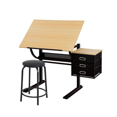 Artiss Drawing Desk With Stool Tilt Drafting Table Set Drawer Art Craft Student Natural Black - Factory To Home - Furniture