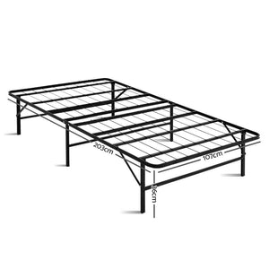 Artiss Foldable King Single Metal Bed Frame - Black - Factory To Home - Furniture