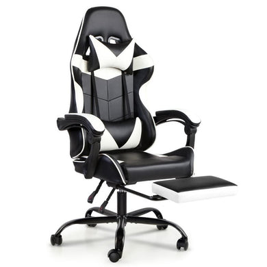 Artiss Gaming Office Chairs Computer Seating Racing Recliner Footrest Black White - Factory To Home - Furniture