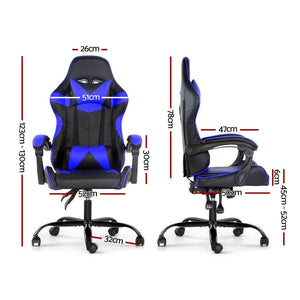 Artiss Gaming Office Chairs Computer Seating Racing Recliner Racer Black Blue - Factory To Home - Furniture