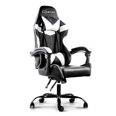 Artiss Gaming Office Chairs Computer Seating Racing Recliner Racer Black White - Factory To Home - Furniture