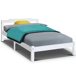 Artiss King Single Size Wooden Bed Frame Mattress Base Timber Platform White - Factory To Home - Furniture
