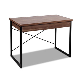 Artiss Metal Desk with Drawer - Walnut - Factory To Home - Furniture