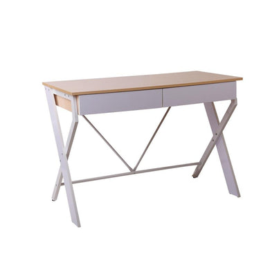Artiss Metal Desk with Drawer - White with Oak Top - Factory To Home - Furniture