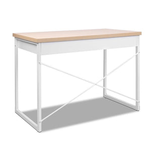 Artiss Metal Desk with Drawer - White with Wooden Top - Factory To Home - Furniture