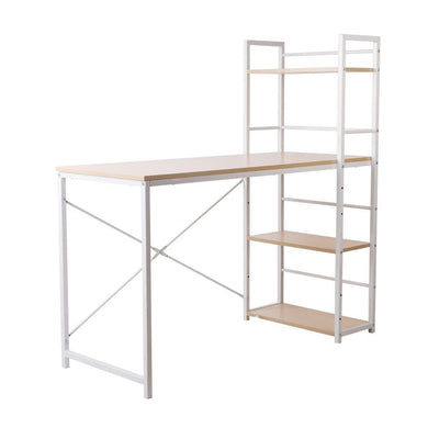 Artiss Metal Desk with Shelves - White with Oak Top - Factory To Home - Furniture