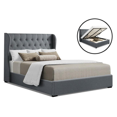 Artiss Queen Size Gas Lift Bed Frame Base With Storage Mattress Grey Fabric Wooden - Factory To Home - Furniture