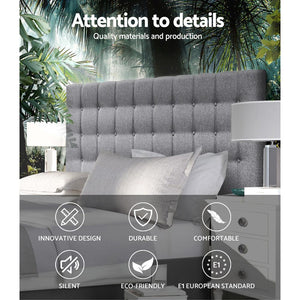 Artiss Queen Size Upholstered Fabric Headboard - Grey - Factory To Home - Furniture