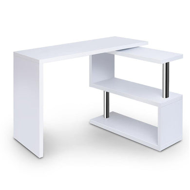Artiss Rotary Corner Desk with Bookshelf - White - Factory To Home - Furniture