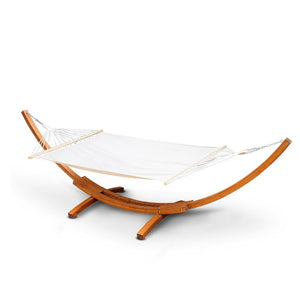 Double Hammock with Wooden Hammock Stand - Factory To Home - Home & Garden