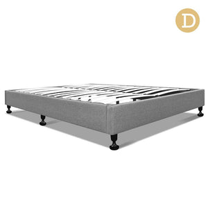 Double Size Fabric and Wood Bed Frame - Grey - Factory To Home - Furniture