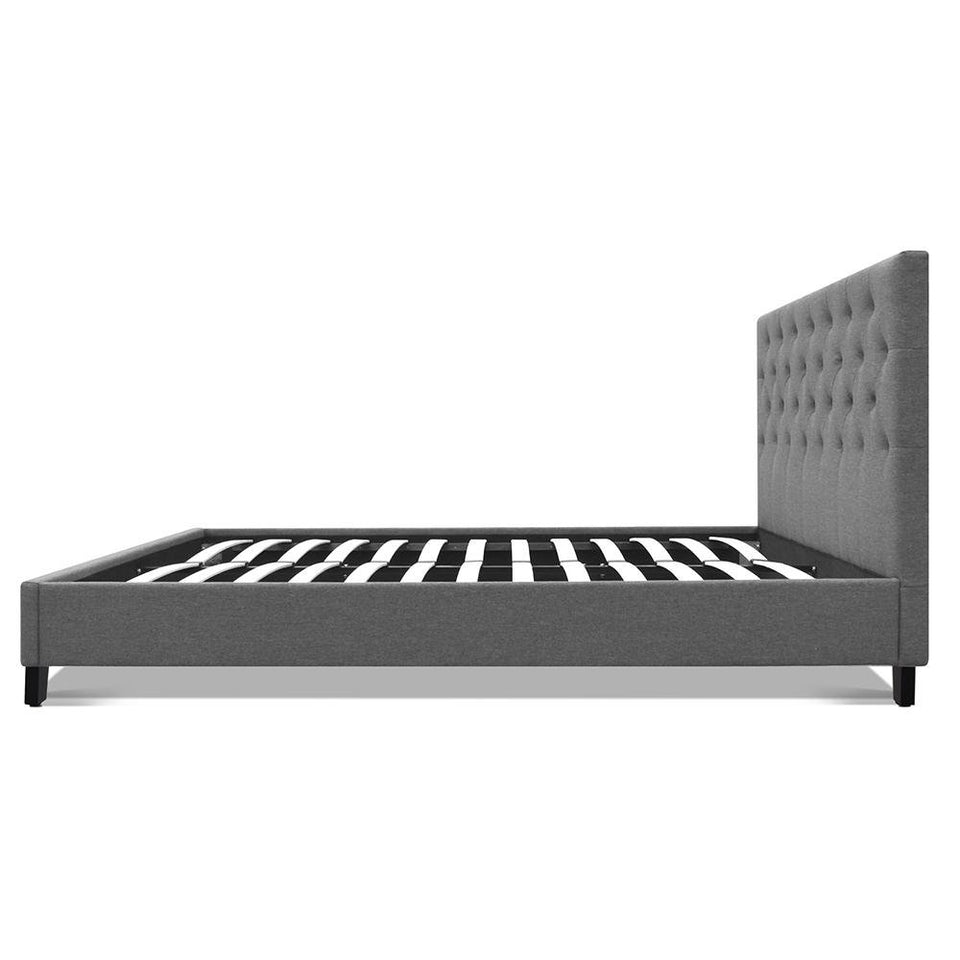 Double Size Fabric Bed Frame - Grey - Factory To Home - Furniture
