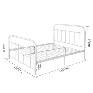 Double Size Metal Bed Frame - White - Factory To Home - Furniture