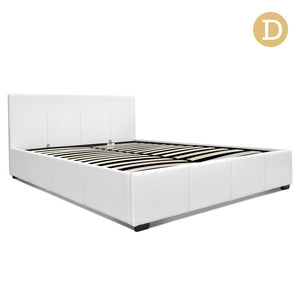 Double Size PU Leather and Wood Bed Frame -White - Factory To Home - Furniture