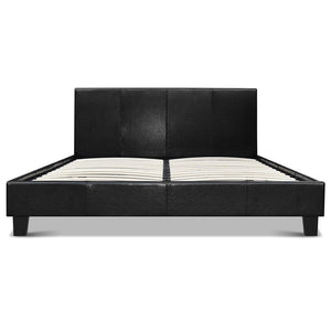 Double Size PU Leather Bed Frame - Black - Factory To Home - Furniture