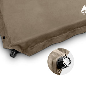 Double Size Self Inflating Mattress Mat 4CM Thick - Coffee - Factory To Home - Outdoor